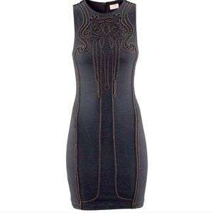 H&M Gray Bodycon Dress With Beaded Embroidery